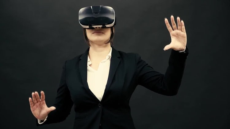 Woman Enjoying Virtual Reality : Stock Video
