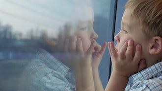 Boy In A Moving Train : Stock Video