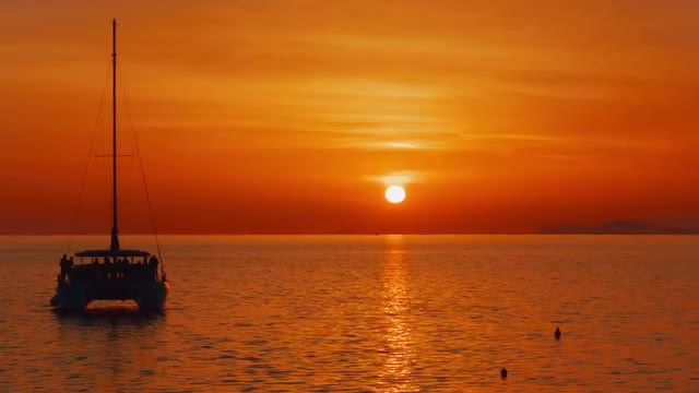 Colorful Sunset In Mediterranean Sea: Stock Video