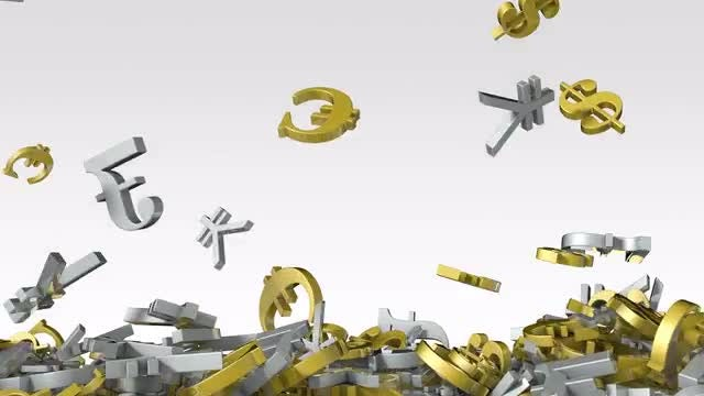 Falling Currency Symbols: Stock Motion Graphics