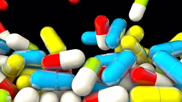Falling Colorful Pills : Stock Motion Graphics