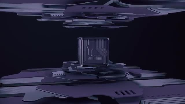 Purple Tech Cube Loop: Stock Motion Graphics