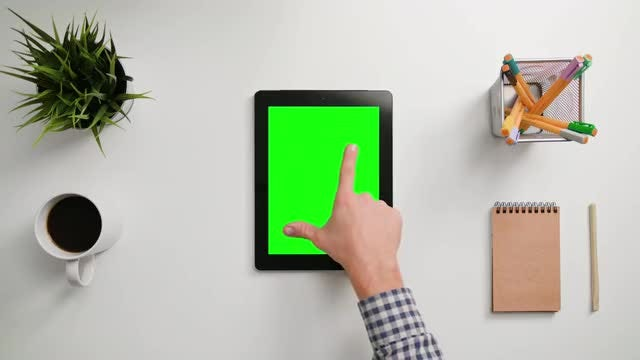 Zooming Out On Green Touchscreen: Stock Video