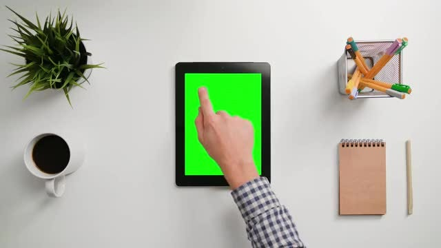 Man Tapping On Tablet Once: Stock Video