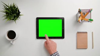Man Scrolling On Tablet PC: Stock Video