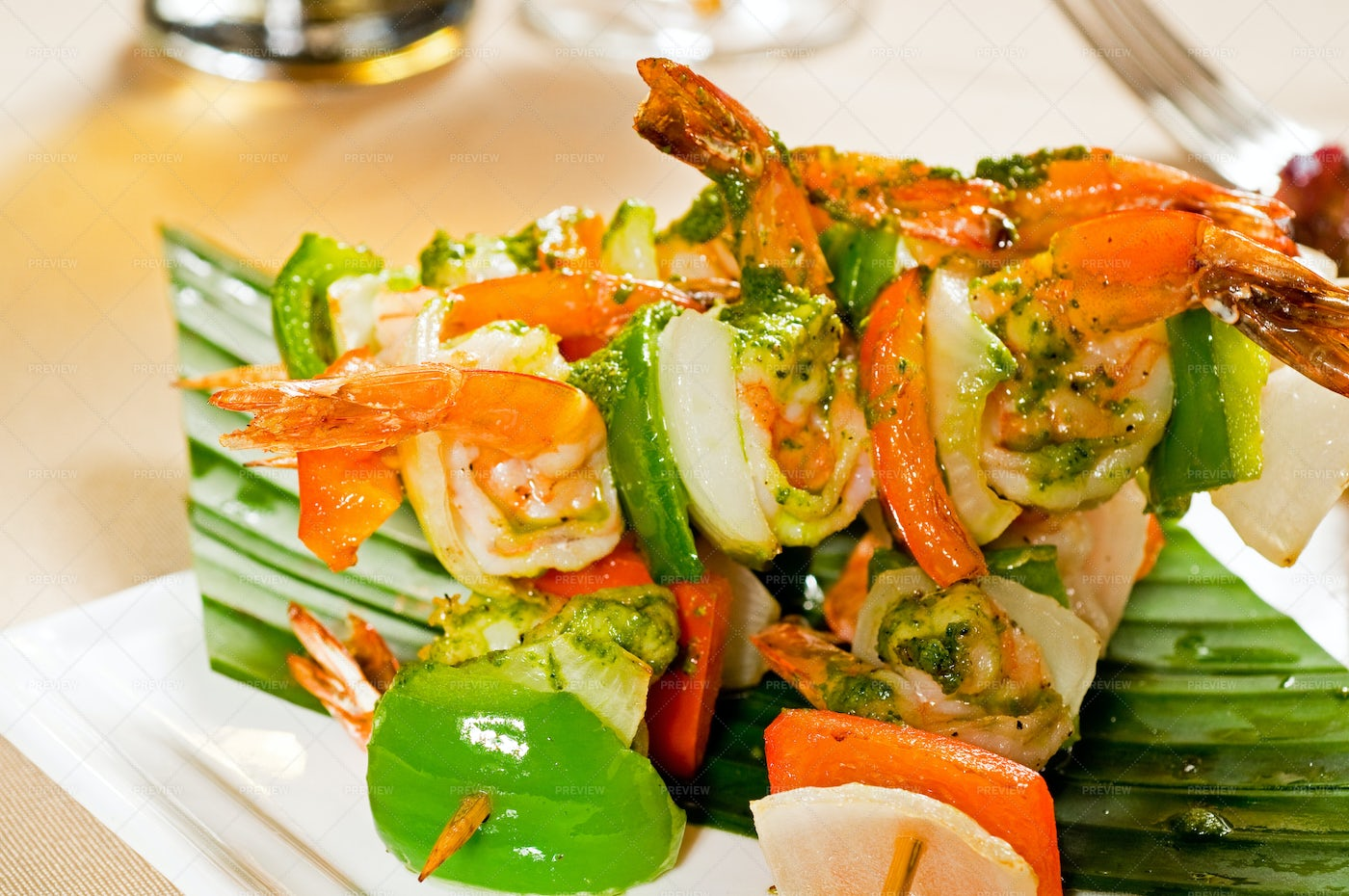Vegetable And Shrimp Skewers: Stock Photos