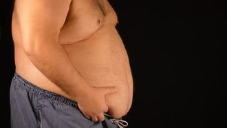 Fat Man Shakes Belly : Stock Footage