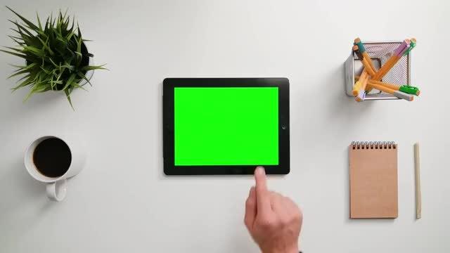 Man Tapping On An iPad: Stock Video