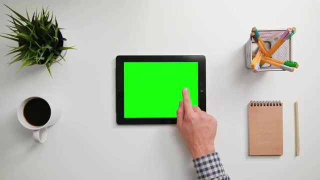 Man Taps On Tablet Once: Stock Video