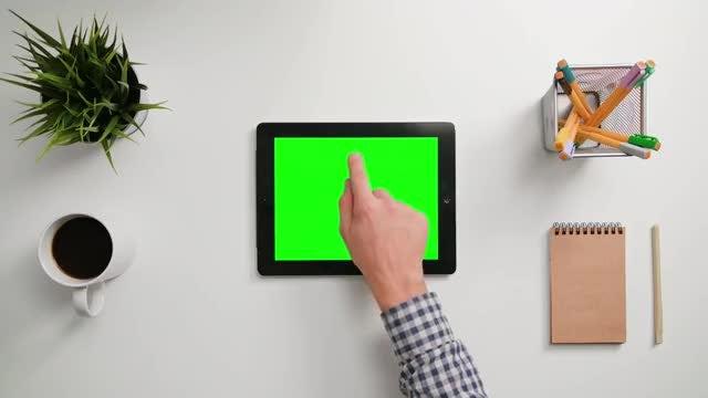 Man Taps On An iPad: Stock Video