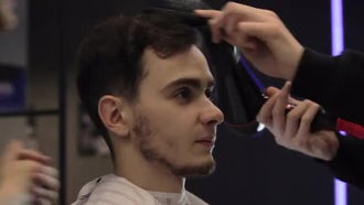 Man Getting A Hair Cut: Stock Video