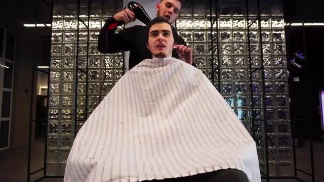 High-Speed Video During Hair Cut: Stock Video