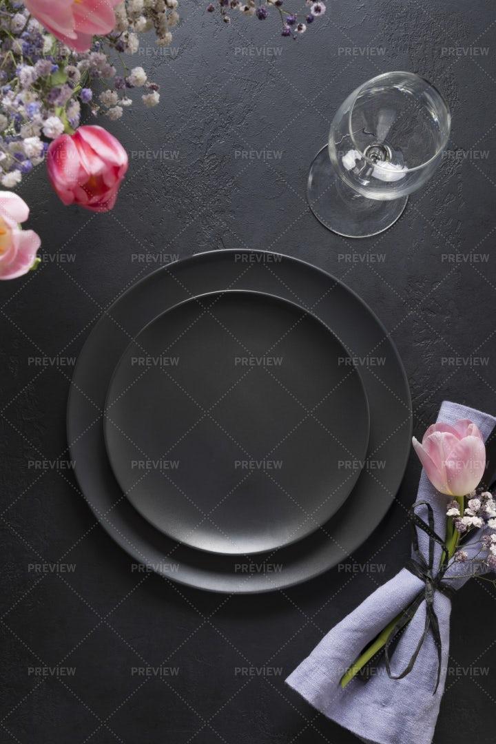 Black Spring Table Setting: Stock Photos