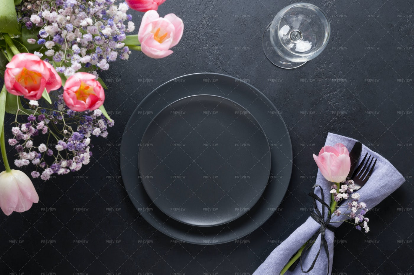 Table Setting With Flowers: Stock Photos
