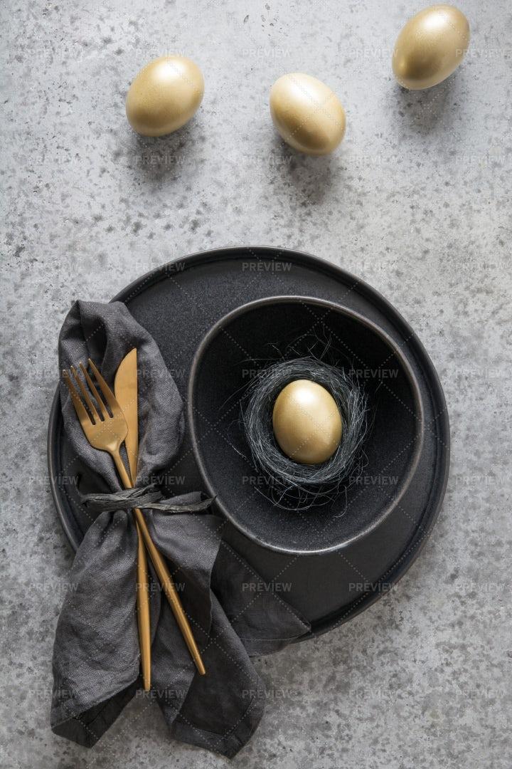 Golden Eggs Easter Table Setting: Stock Photos
