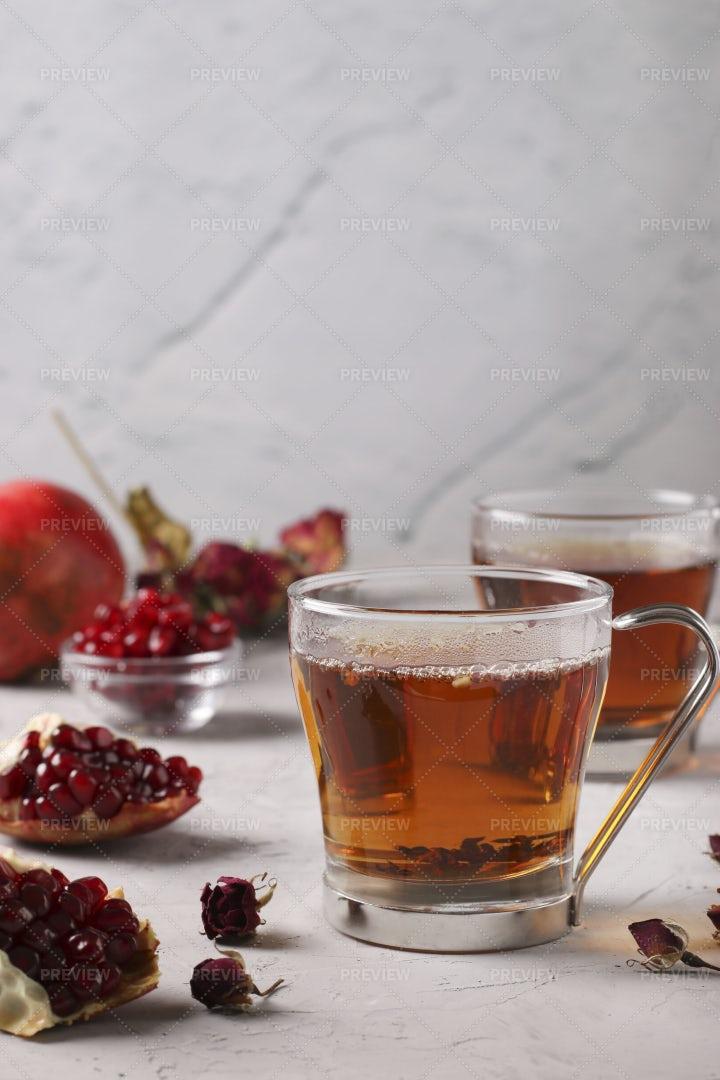 Pomegranate Tea Background: Stock Photos
