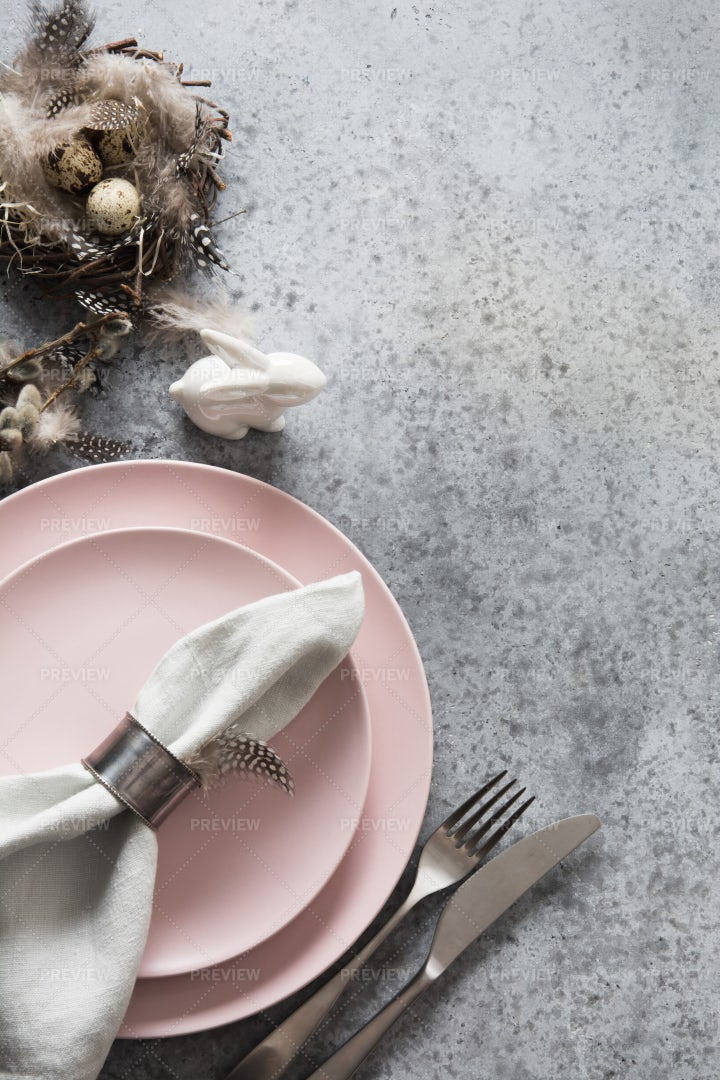 Pink Easter Table Setting Background: Stock Photos