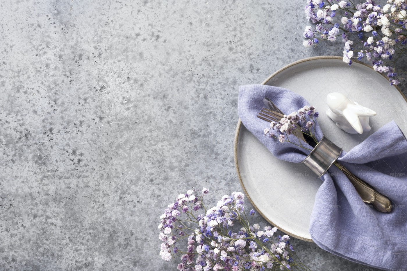 Violet Easter Table Setting: Stock Photos