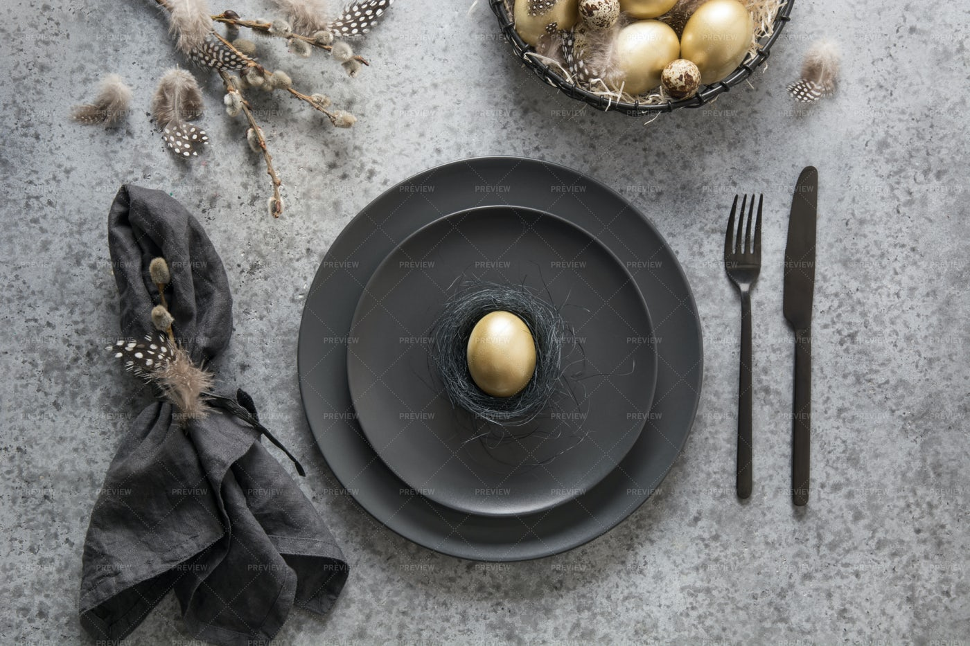 Easter Table Setting In Black: Stock Photos