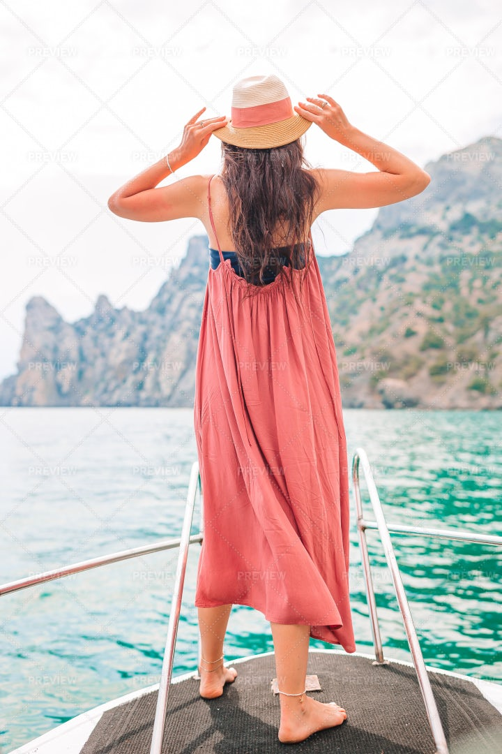 Woman On Boat: Stock Photos