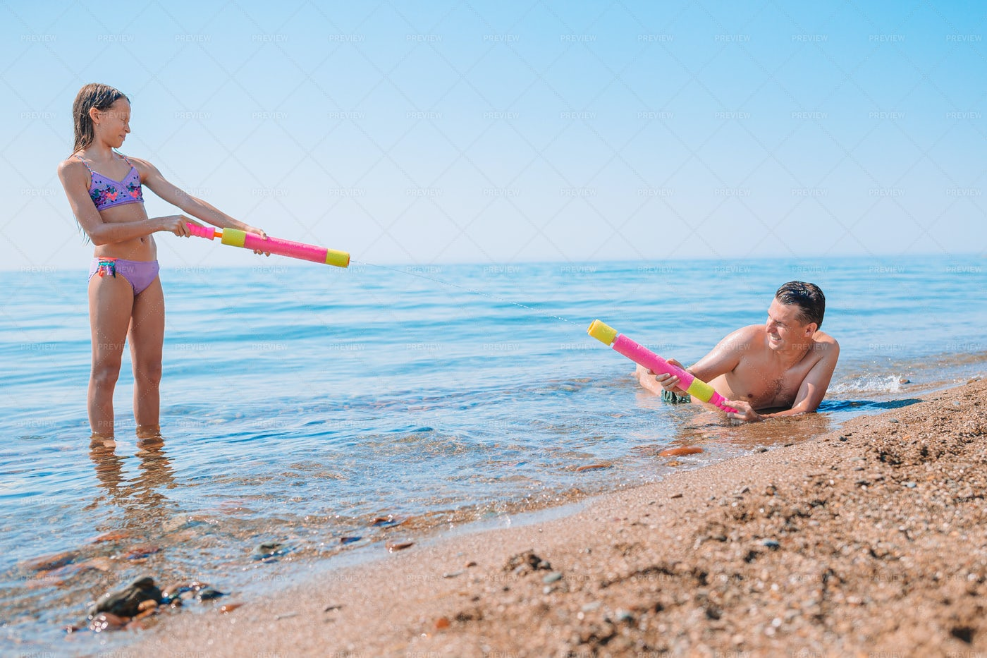 Splashing On The Beach: Stock Photos
