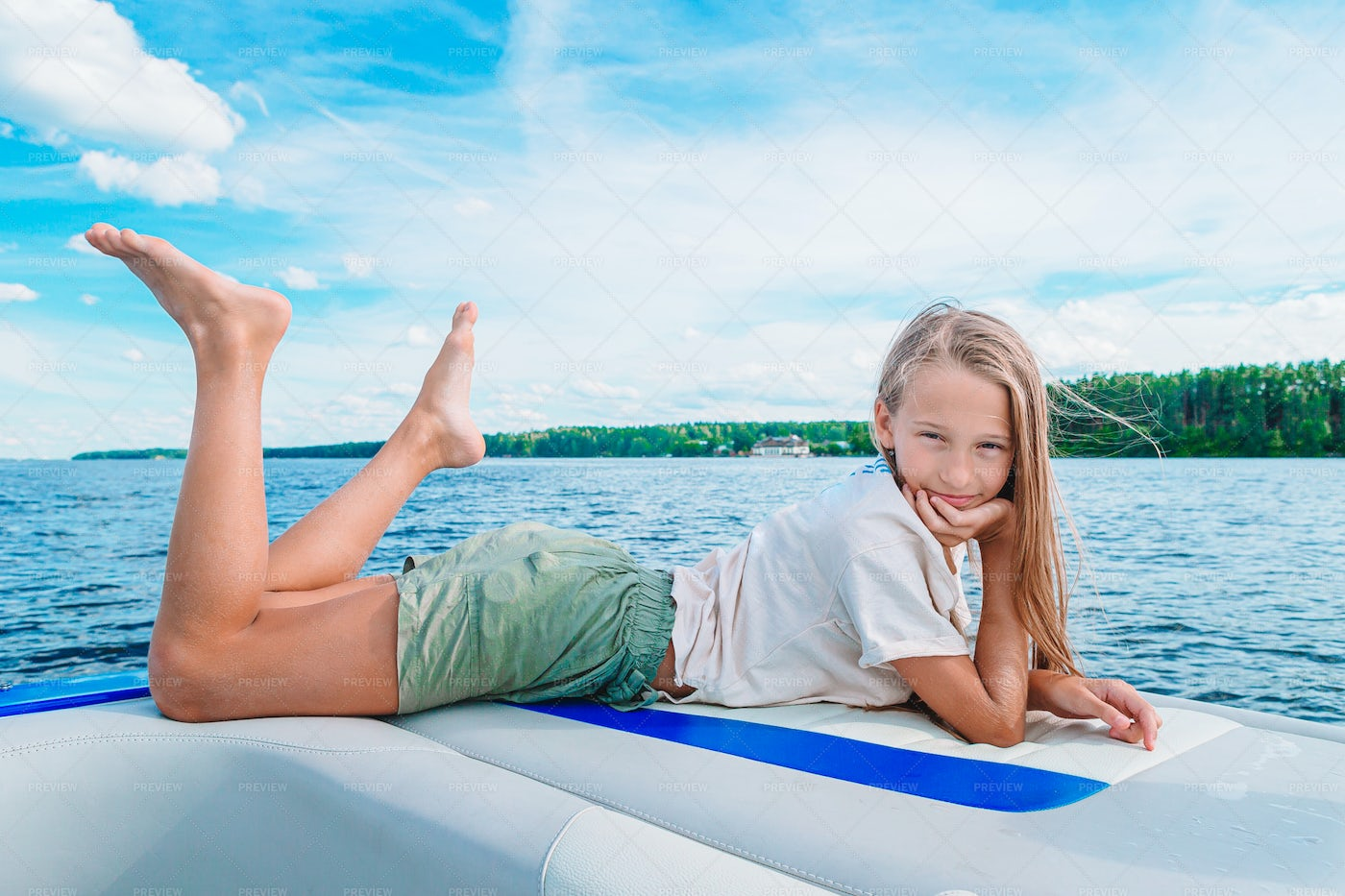 Girl Sailing On A Boat: Stock Photos