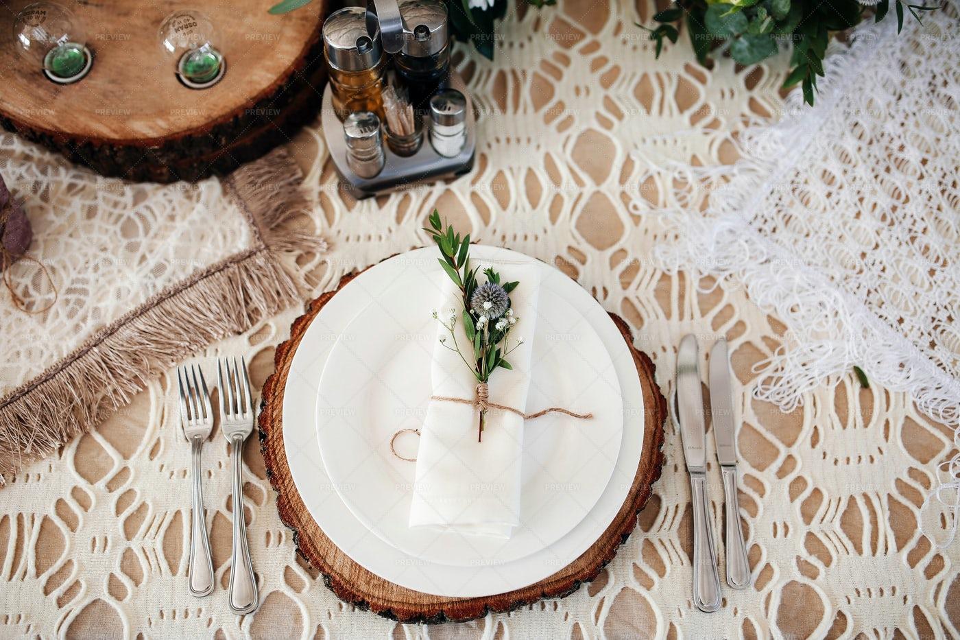 A White Table Setting: Stock Photos