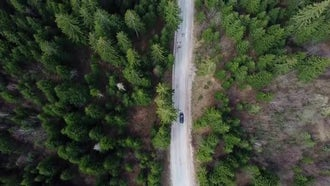 Aerial View Of Moving Car : Stock Footage