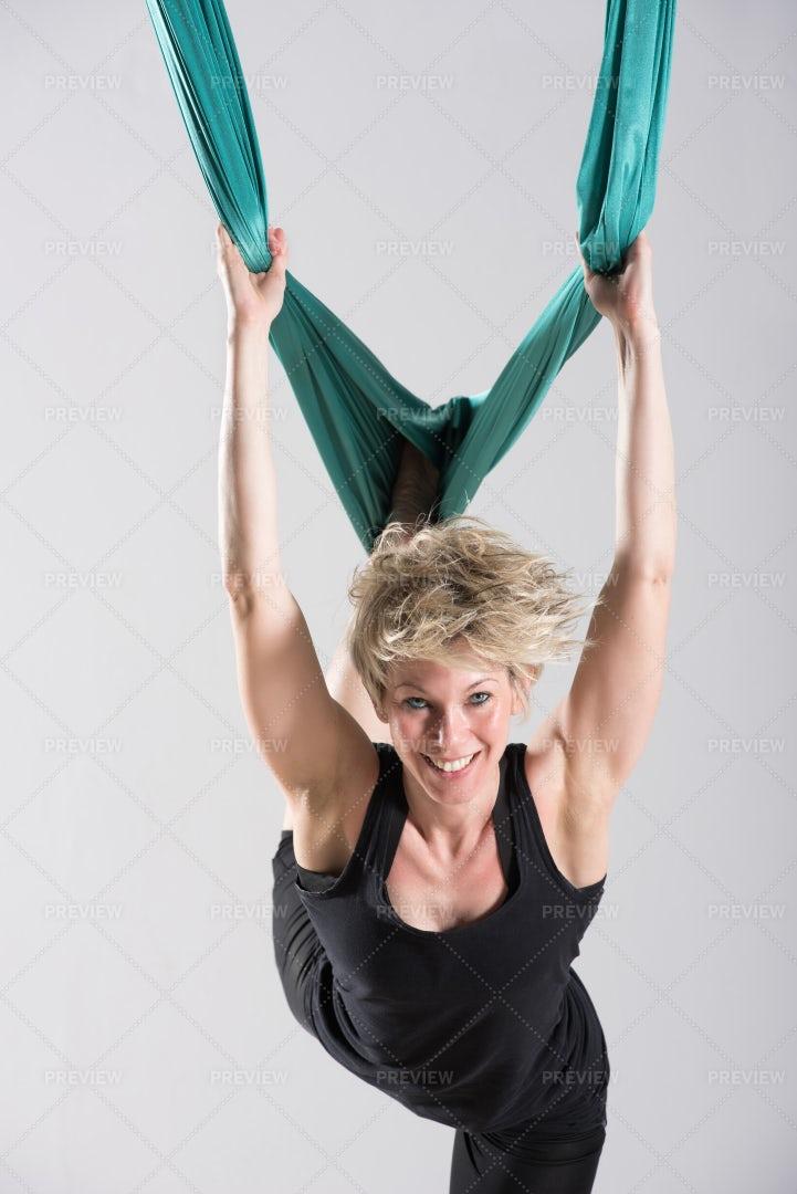 Aerial Yoga Workout: Stock Photos