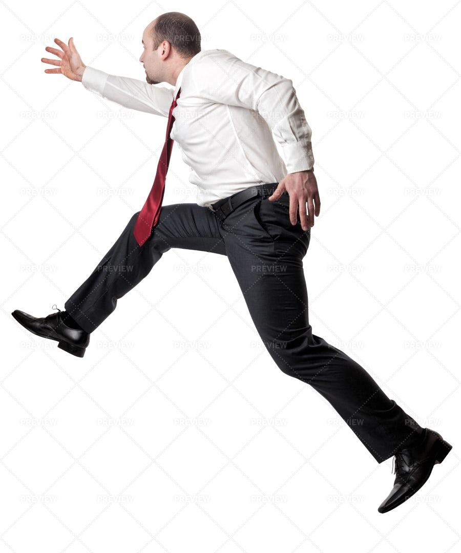 Jumping Man On White: Stock Photos
