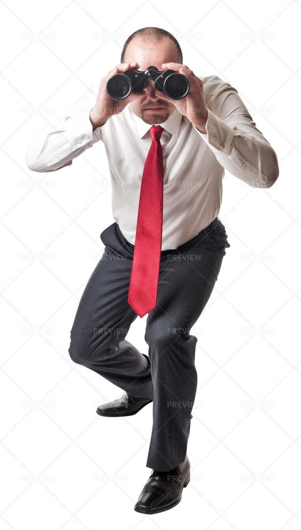 Man With Binoculars: Stock Photos
