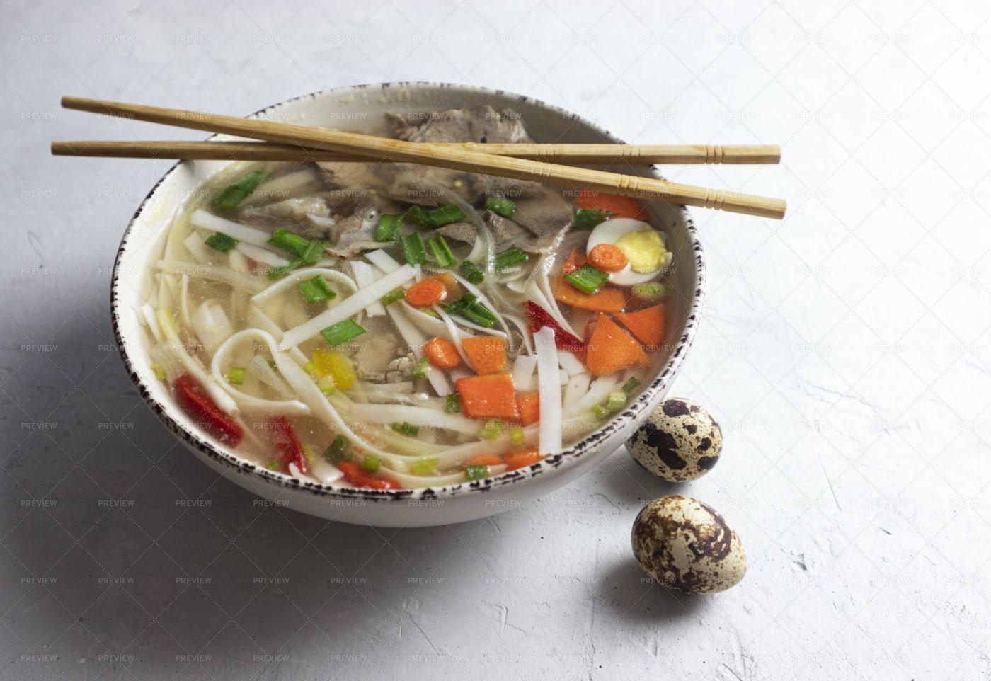 Spicy Asian Noodle Soup: Stock Photos
