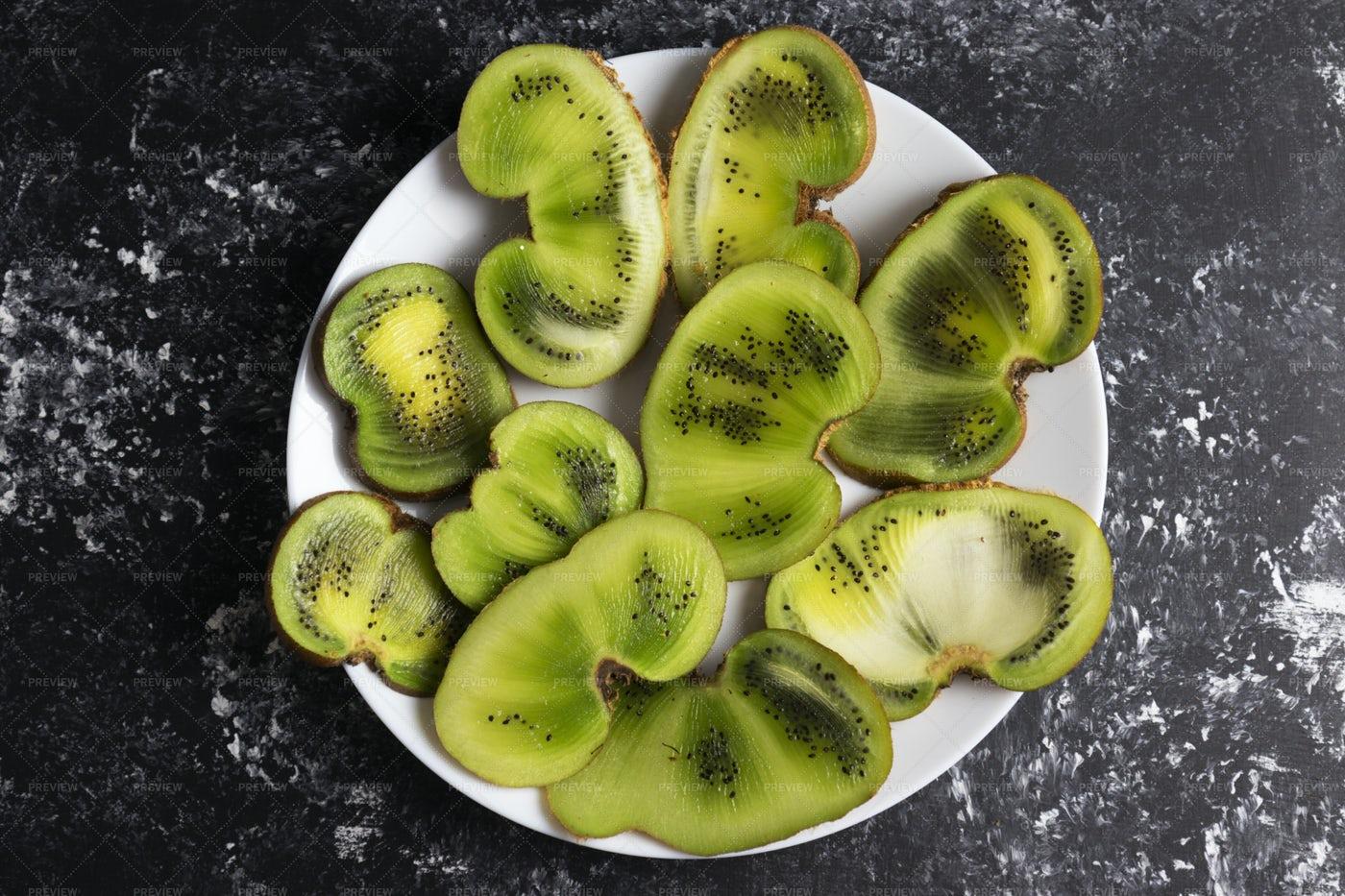 Deformed Kiwi Halves: Stock Photos