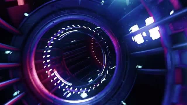 Neon Digital Tunnel: Stock Motion Graphics