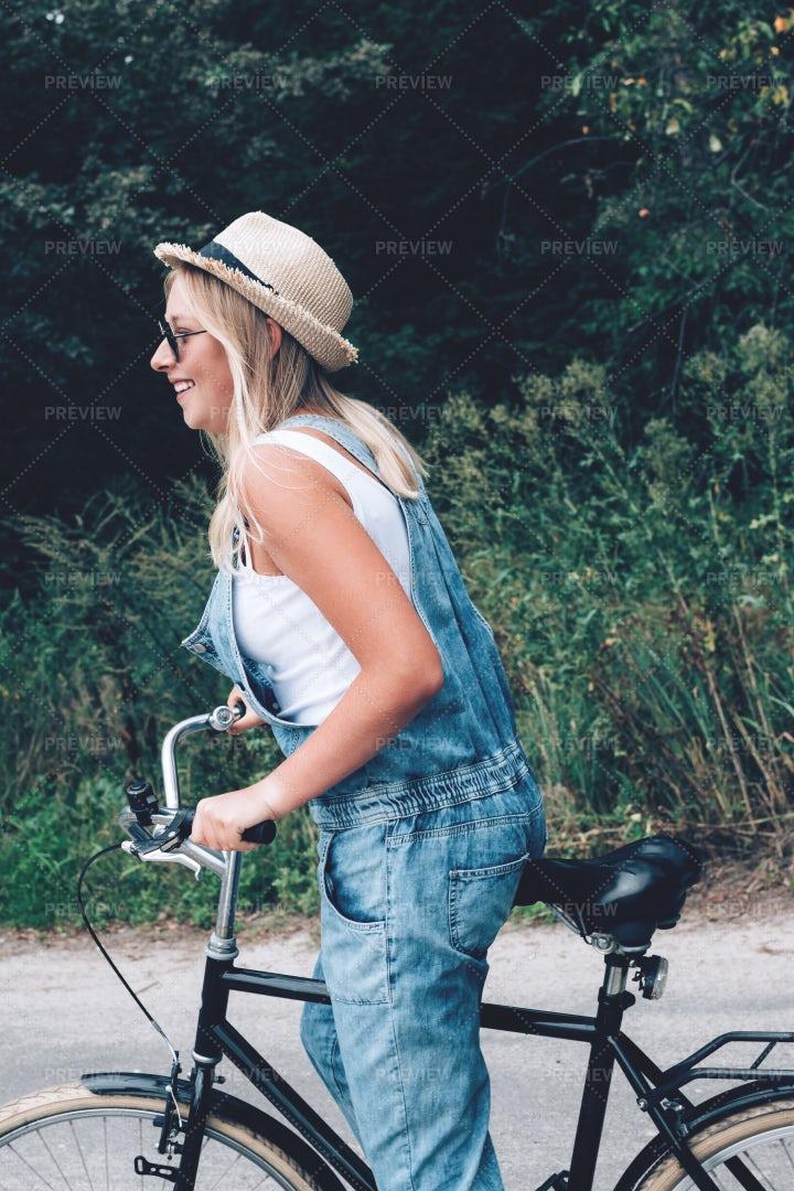 Girl Riding Her Bike: Stock Photos