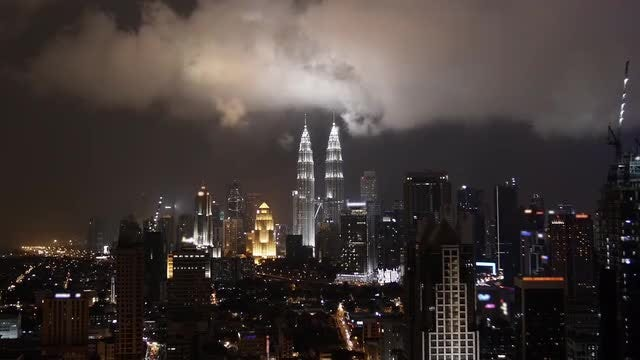 Kuala Lumpur Night City Skyline: Stock Video