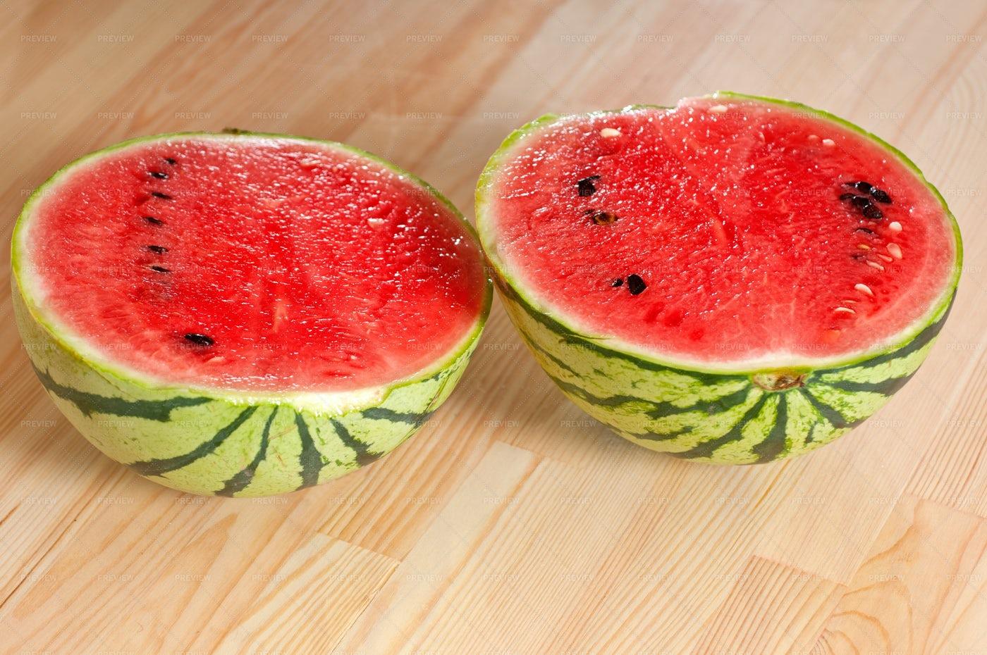 Sliced Watermelon On Wood: Stock Photos