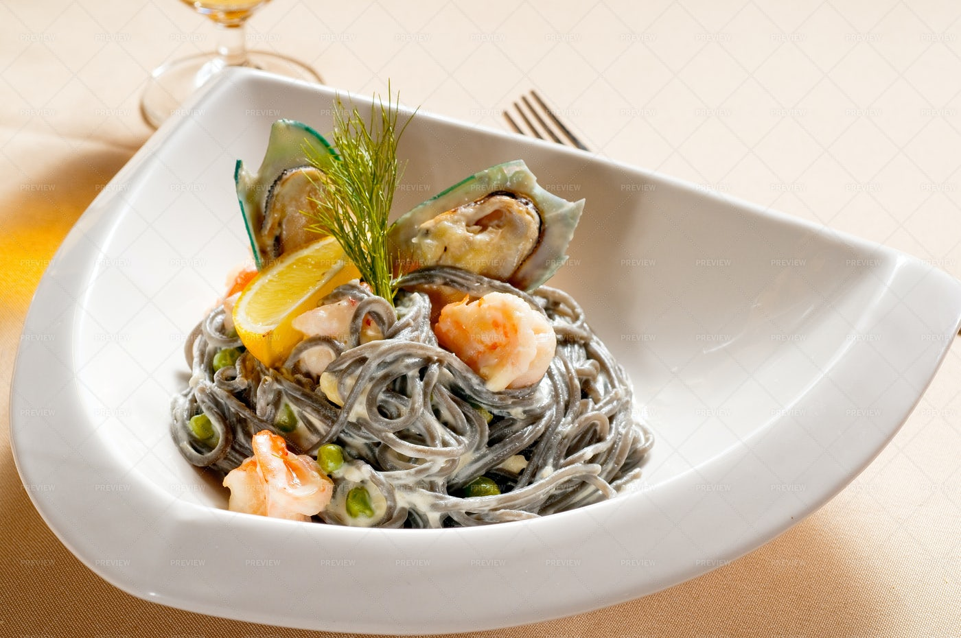 Seafood And Pasta: Stock Photos