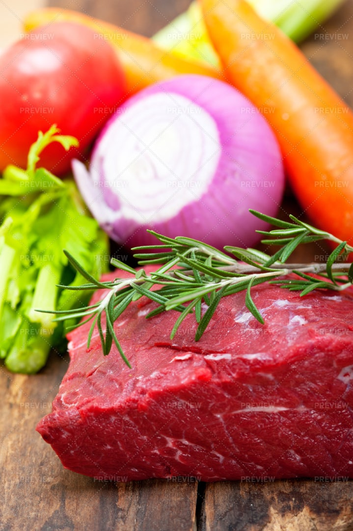 Raw Beef, Vegetables And Herbs: Stock Photos