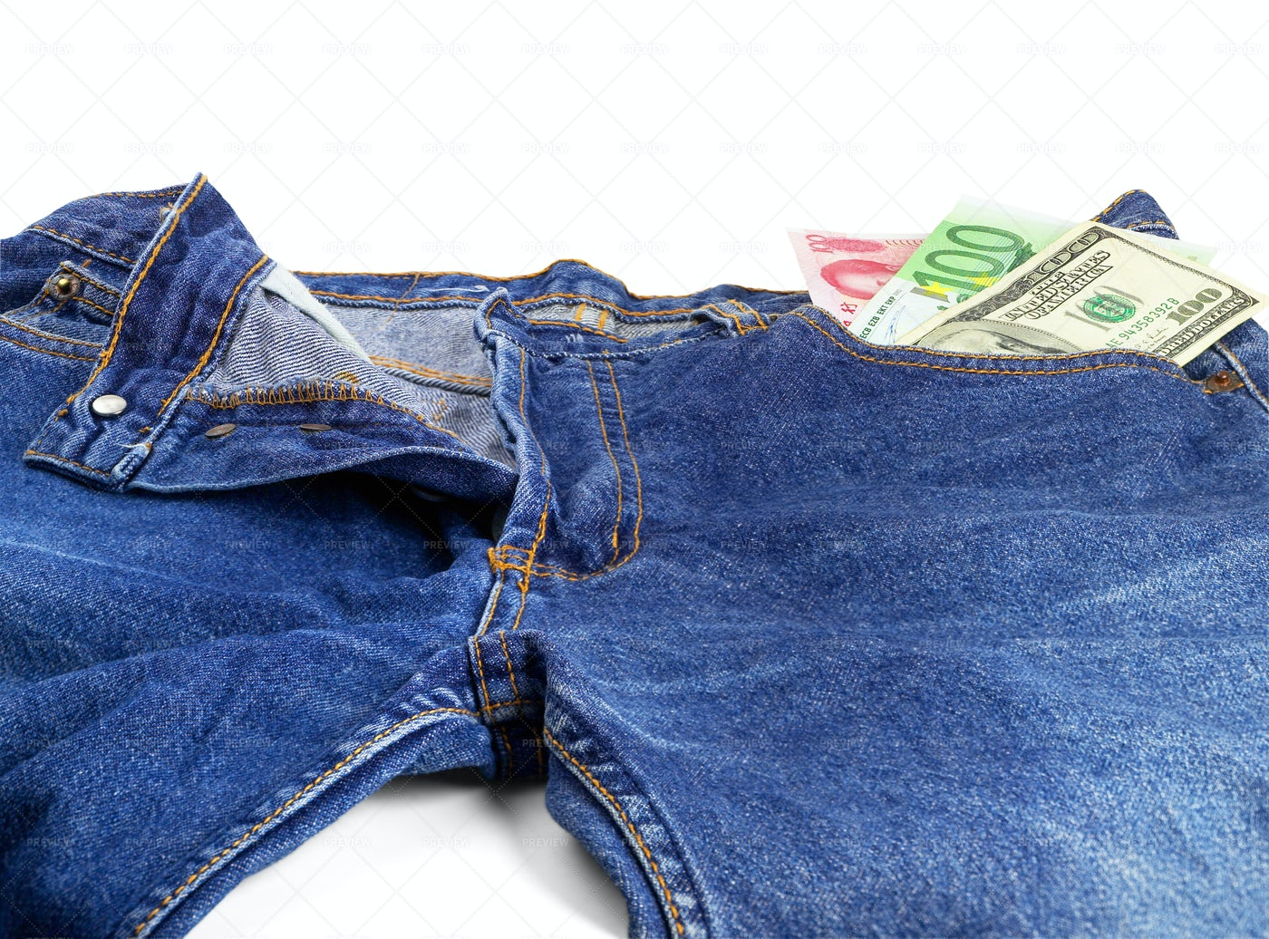 Blue Jeans And Bills: Stock Photos
