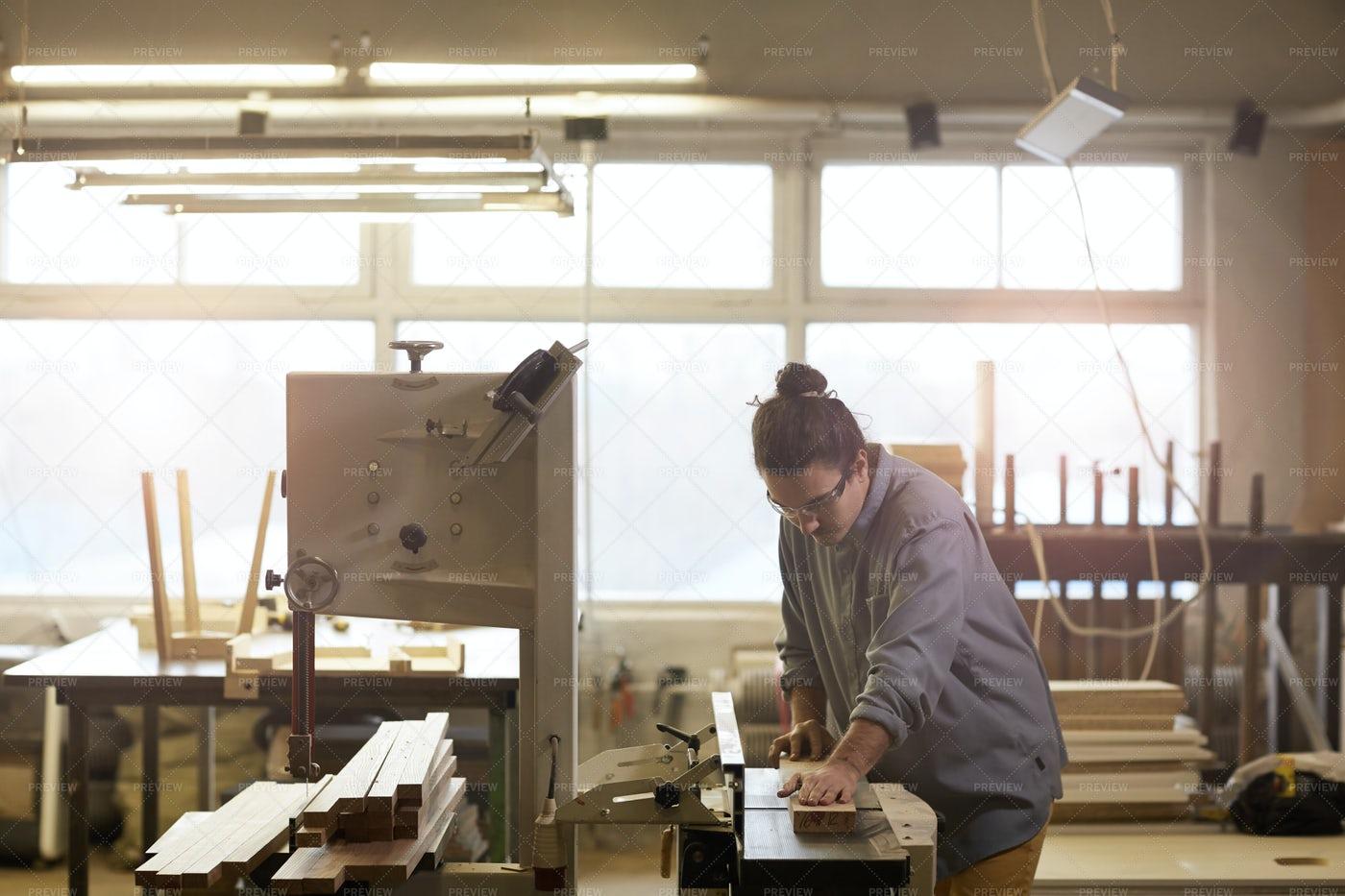 Carpenter Working On Lathe: Stock Photos