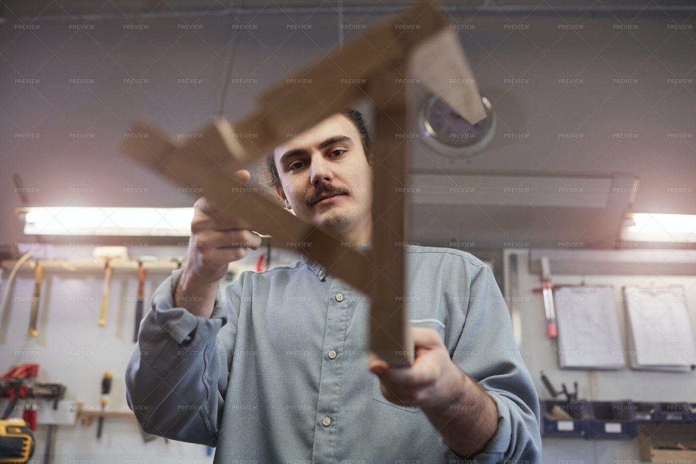 Carpenter Showing His Work: Stock Photos