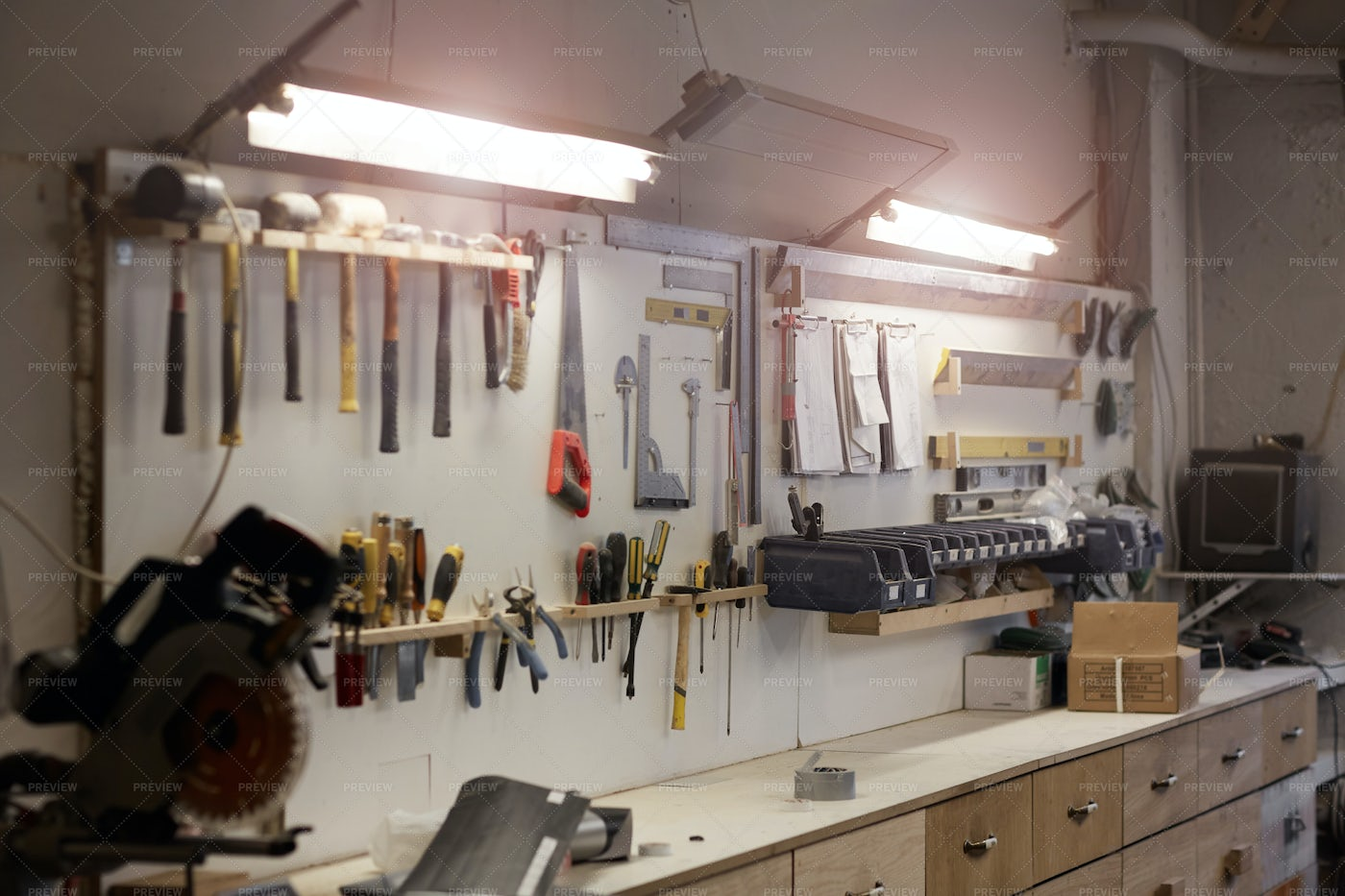 Workshop With Work Tools: Stock Photos