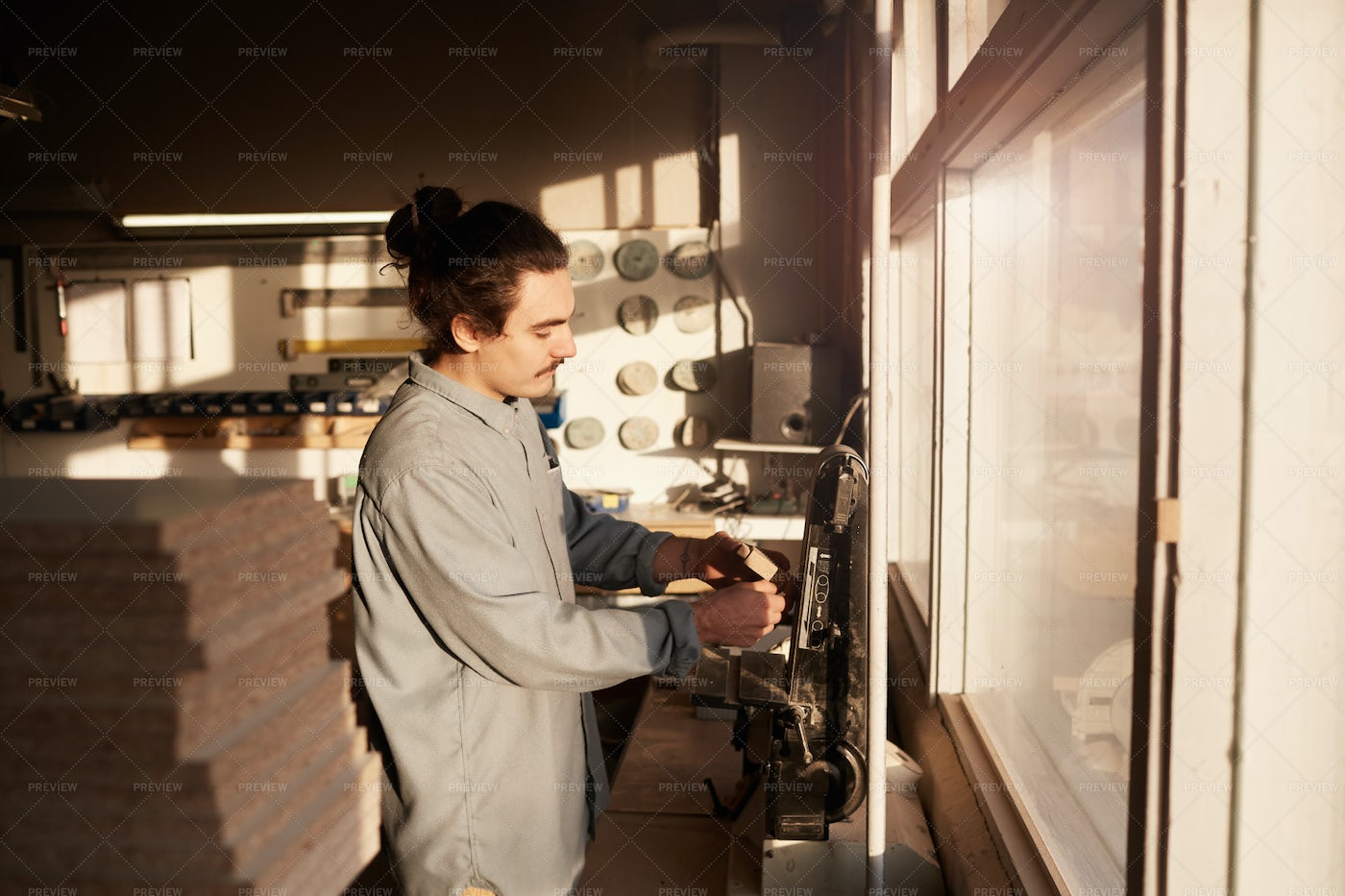 Carpentry Factory With Worker: Stock Photos