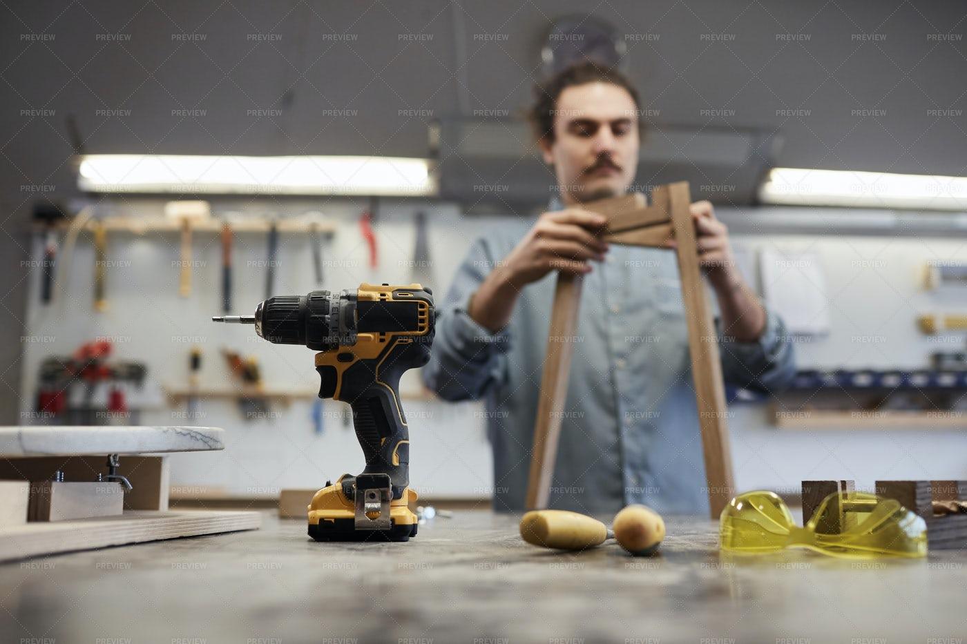 Carpenter With Work Tools: Stock Photos