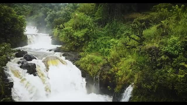 Aerial View Of Waterfall Upstream : Stock Video