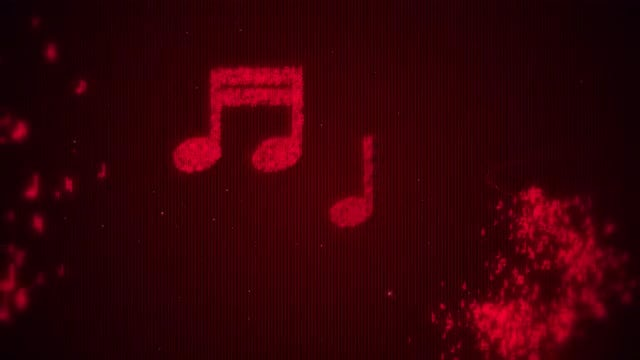 Red Music Notes: Stock Motion Graphics
