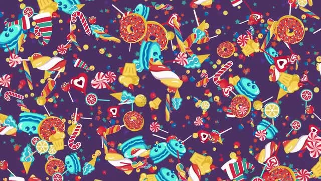 Holiday Candy Sweets Pattern: Stock Motion Graphics