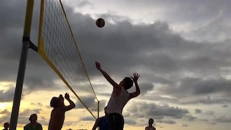 Beach Volleyball Slow Motion: Stock Video
