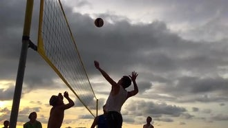 Beach Volleyball Slow Motion: Stock Footage
